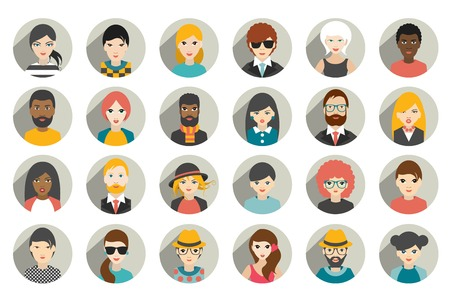 avatar woman: Set of circle persons, avatars, people heads  different nationality in flat style. Vector.