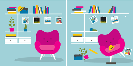 chaos order: Tidy und untidy room. Living room with armchair and book shelves. Flat design vector illustration. Illustration