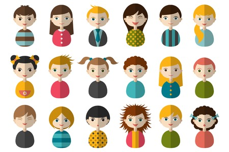 teen boy face: Big set of different avatars of children. Boys and girls on a white background. Minimalistic flat modern icon set portraits. Vector illustration