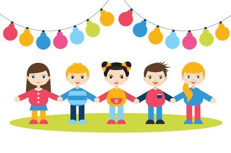 children holding hands: Children holding hands. Cartoon kids figures. Small boys and girls on a white background with color festive flags. Birthday concept. Illustration