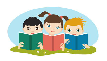 schooler: Little cute group of three children reading a books sitting on the grass. Flat vector. Illustration