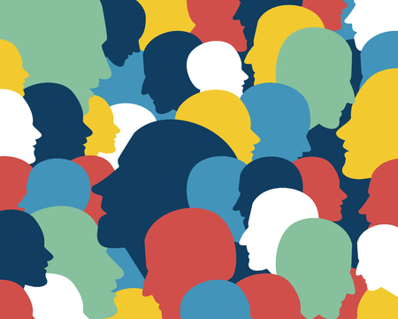 issue: People profile heads. Vector background pattern.