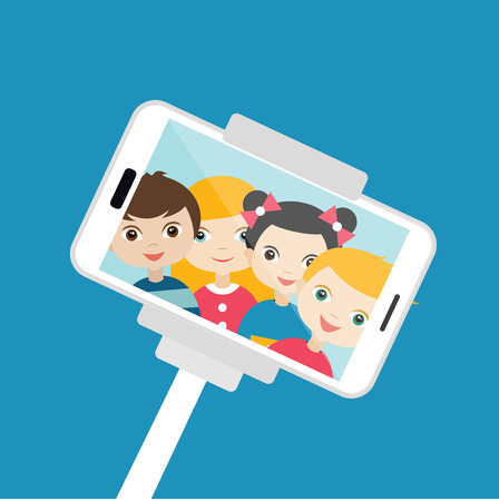 telephone cartoon: Children making  selfie photo. Vector cartoon illustration.