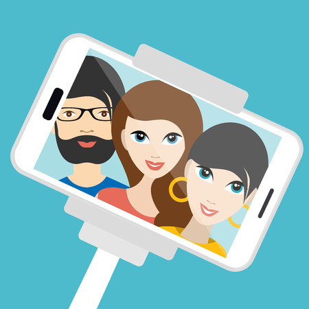 girl at phone: Three friends making summer selfie photo. Vector cartoon illustration. Illustration