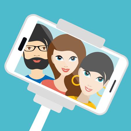 niño y niña: Tres amigos que hacen selfie verano foto. Ilustración vectorial de dibujos animados.