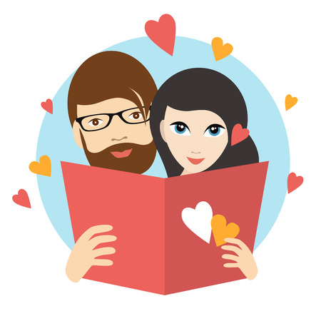 happy family smiling: Love couple reading a love letter. Wedding concept. Flat vector. Illustration