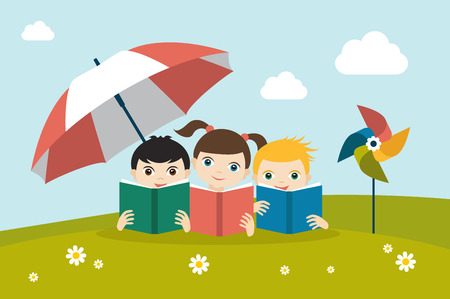 schooler: Little cute group of three children reading a books sitting on the grass under sun umbrella. Holiday concept. Flat vector.