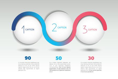 3 단계와 인포 그래픽 벡터 옵션 배너입니다. 색상 구, 공, 거품입니다. 인포 그래픽 템플릿입니다.
