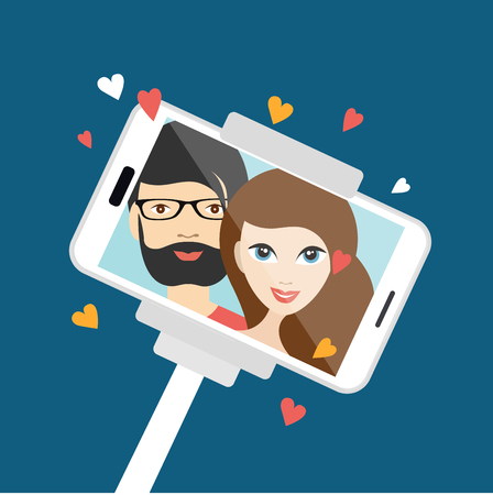 female friends: Couple in love making  selfie photo. Vector cartoon illustration.