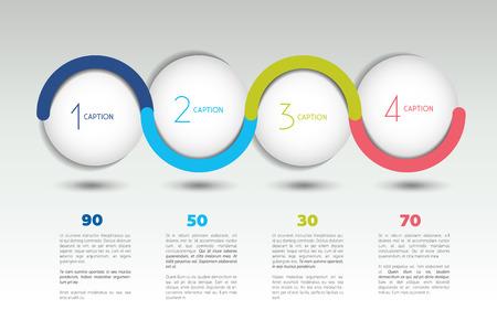 Infografía bandera opción del vector con 4 pasos. esferas de colores, bolas, burbujas. plantilla de infografía.