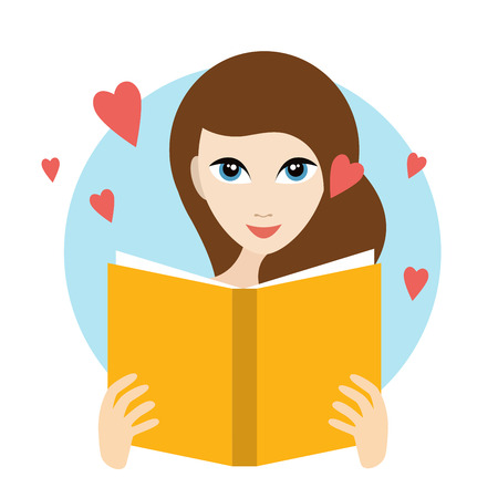 teenagers love: Teanager girl reading a love romance book. Flat vector. Illustration