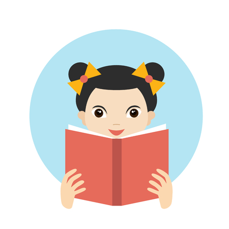 female student: Little cute girl reading a book. Flat vector.