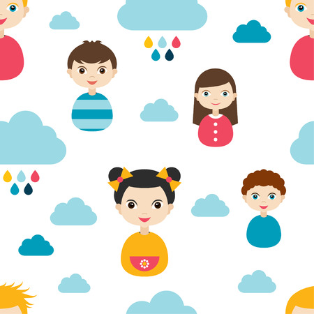 wall paper: Kids wall paper pattern. Color children smiling faces and clouds.