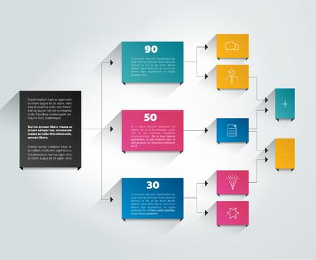 estructura: Diagrama de flujo de Infografía. Color sombras esquema.