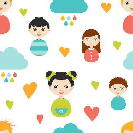 Kids wall paper pattern. Color children smiling faces with heart and clouds. Illustration