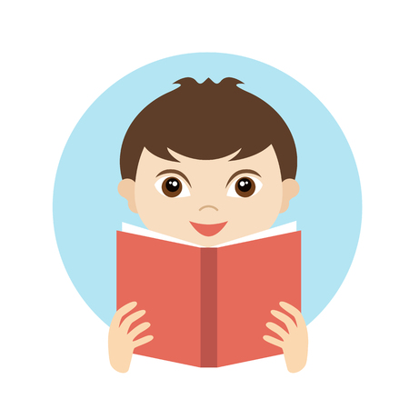 reads: Little cute boy reading a book. Flat vector.