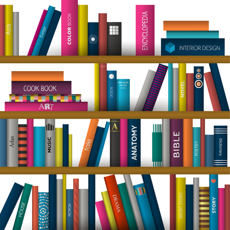 book shelf: Book shelf. Realistic vector illustration. Bookstore indoor.