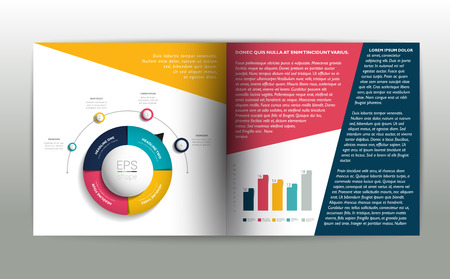 magazine page: Booklet page. Magazine layout for infographics. Web template.