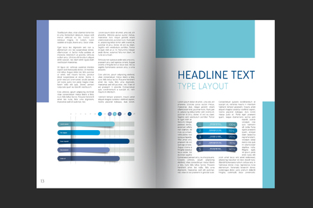 page layout: Booklet page layout. Minimalistic magazine, brochure, flyer, annual report template.