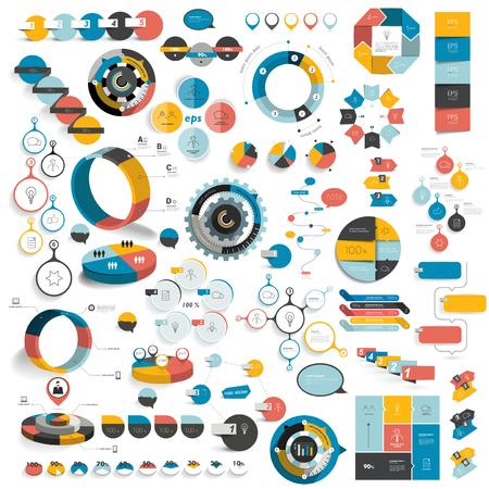 Mega set of infographics elements, charts, tabs, bar, diagrams, schems.