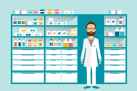 druggist: Man pharmacist in a pharmacy, drugstore. Shelves with medicines, cure, pills. Flat vector.