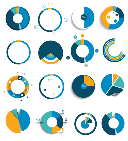 financial cycle: Big set of round, circle chart, graph. Simply color editable. Infographics elements.