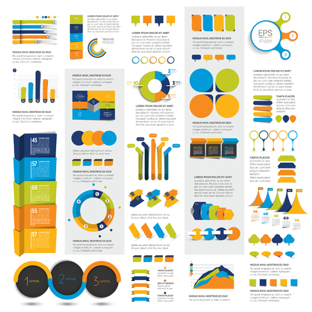 charts and graphs: Mega set of infographics elements charts, graphs, circle charts, diagrams, speech bubbles. Flat and 3D design. Vector.