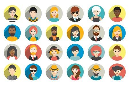 perfil de mujer rostro: Conjunto de personas círculo, avatares, las personas cabezas nacionalidad diferente en estilo plano. Vector. Vectores