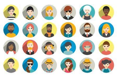 visage femme profil: Ensemble de cercle des personnes, des avatars, les gens têtes nationalités différentes dans le style plat. Vecteur.