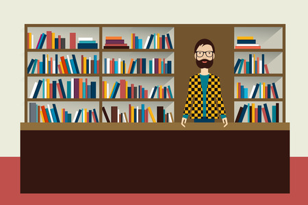 bookseller: Bookstore and bookseller man. Flat vector illustration.