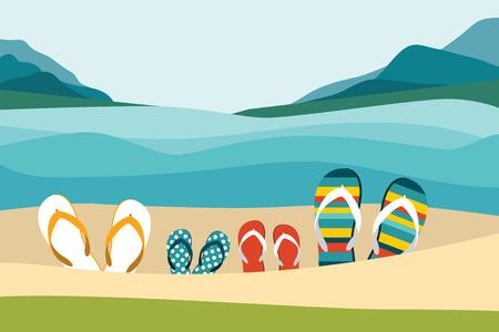 Summer beach with color flip flops. Family summer holiday. Flat design illustration. Vector Illustration