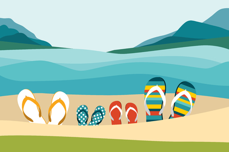 summer holiday: Summer beach with color flip flops. Family summer holiday. Flat design illustration.