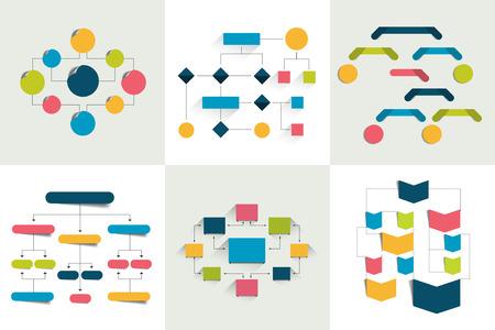 Schematy blokowe. Zestaw schematów 6 wykresów, diagramów przepływu. Wystarczy koloru edytowalne. Elementy infografiki.