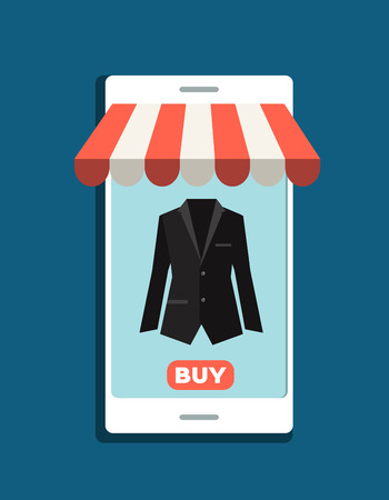 easy money: Online shopping. Smartphone.  Vector cartoon illustration.