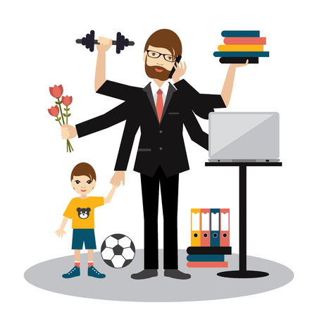 Busy multitasking man, father, dad, daddy, romantic husband, businessman, worker. Young man with son, working, calling and doing exercise at the gym. Flat vector.