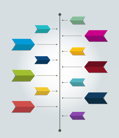 Timeline report template. Color shadow scheme, diagram. Vertical design.