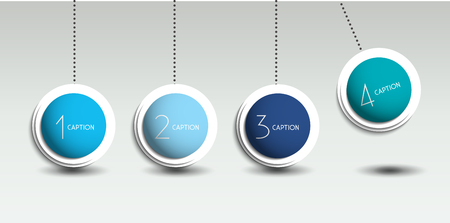 pendulum: Infographic vector option banner with pendulum. Color spheres, balls, bubbles. Infographic template.