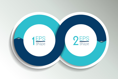 circle design: Two business elements banner. 2 steps design, chart, infographic, step by step number option, layout. 3D cyrcle style. Illustration