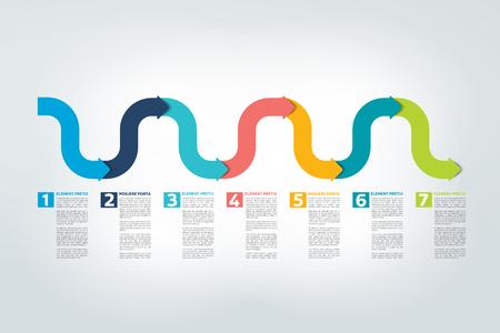 Infographic timeline report, template, chart, scheme. Vector. Vettoriali