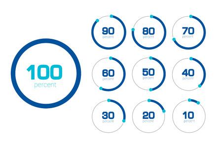 percentages: Circle chart, graph. Flat design. Percentage templates set. Infographics elements.