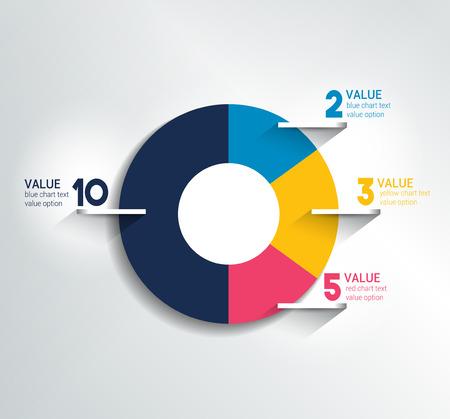 grafica de pastel: Redondo, círculo diagrama, gráfico. Simplemente el color editable. Infografía elementos.