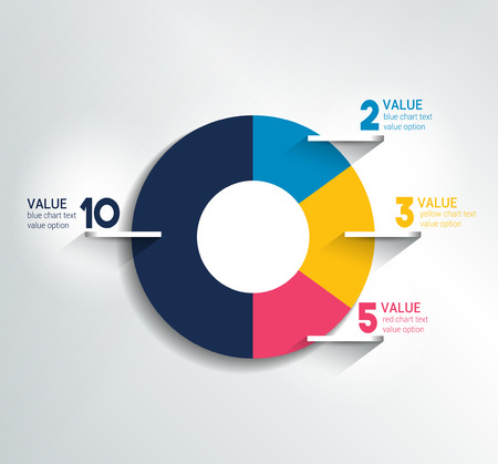 pie chart: Round, circle chart, graph. Simply color editable. Infographics elements.
