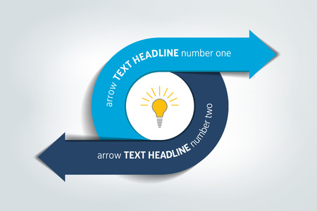 arrows circle: Circle, round divided in two arrows. Template, scheme, diagram, chart, graph, presentation. Business concept with 2 steps, options, processes.