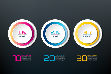 cyrcle: Three steps connected element banner, template, chart, infographic, step by step number option, layout. 3D cyrcle style. Illustration