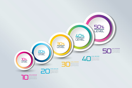 cyrcle: Timeline connected element banner, template, chart, infographic, step by step number option, layout. 3D cyrcle style. Illustration