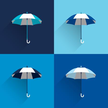 background person: Umbrella sign. Flat vector sign. Various blue color parasol.