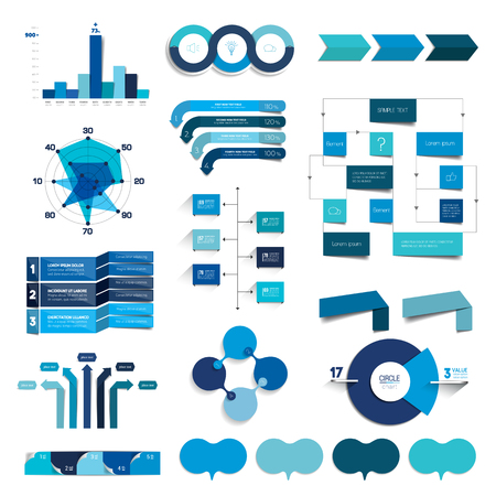 three dimensions: Collection of charts, graphs, flowcharts. Infographics in blue color.