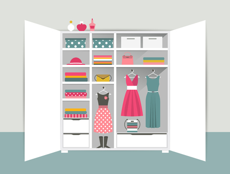 interior design home: Open wardrobe. White closet with tidy clothes, shirts, sweaters, boxes and shoes. Home interior. Flat design vector illustration.