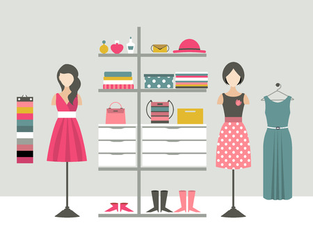 clothing: Clothing store. Boutique indoor. Flat design vector illustration.