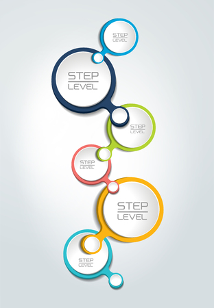 Round numbered step by step template, banner. Business color vector. Infographic.
